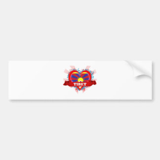 Vintage I Love Tibet Bumper Sticker