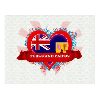 Vintage I Love Turks And Caicos Postcard