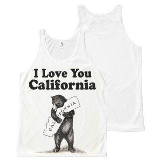 Vintage I Love You California All-Over Print Singlet