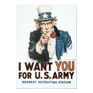 "Vintage I Want You Army Poster 5"" X 7"" Invitation Card"