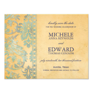 Vintage Ice Blue Damask Lace Save the Date 4.25x5.5 Paper Invitation Card