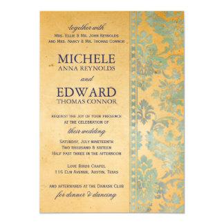 Vintage Ice Blue Damask Lace Wedding 13 Cm X 18 Cm Invitation Card