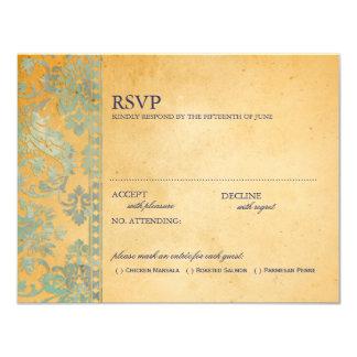 Vintage Ice Blue Damask Lace Wedding RSVP 11 Cm X 14 Cm Invitation Card