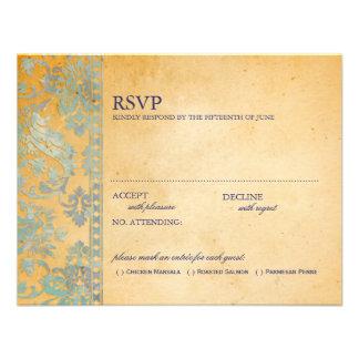Vintage Ice Blue Damask Lace Wedding RSVP Personalized Invite