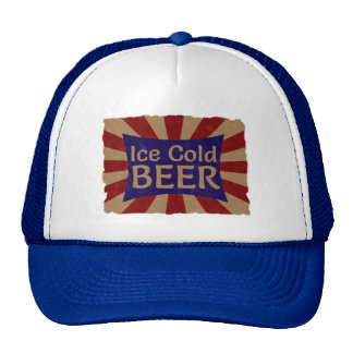 Vintage Ice Cold Beer Advertising Sign Hat / Cap