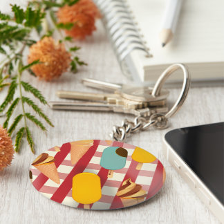 Vintage Ice Cream Picnic Basic Round Button Key Ring