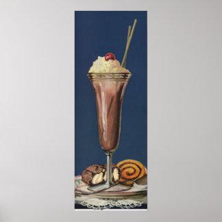 Vintage Ice Cream Shake, Whipped Cream & Cherry Poster