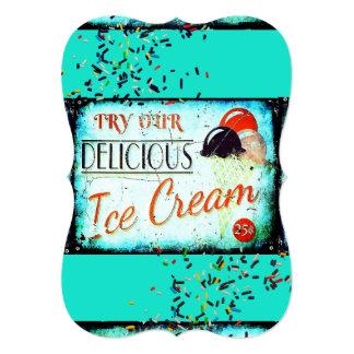 Vintage ice cream sign invitation