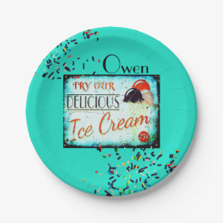 Vintage ice cream sign paper plate