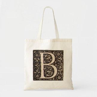Vintage Illuminated Monogram Letter B Totebag Tote Bag