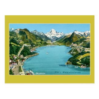 Vintage illustrated map Lake Lucerne Postcard