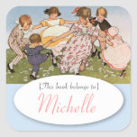 Vintage illustration children's bookplate square sticker