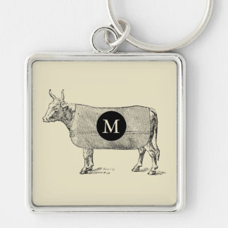 VINTAGE ILLUSTRATION Cow Blanket Monogram Custom K Silver-Colored Square Key Ring