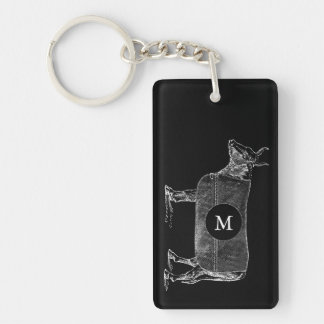 VINTAGE ILLUSTRATION Cow Monogram 2 sided Keychain