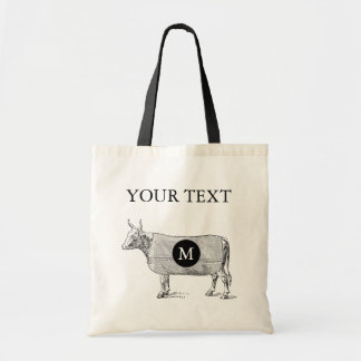 VINTAGE ILLUSTRATION Cow Monogram Custom Tote Bag