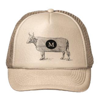 VINTAGE ILLUSTRATION Cow Monogram T Hat