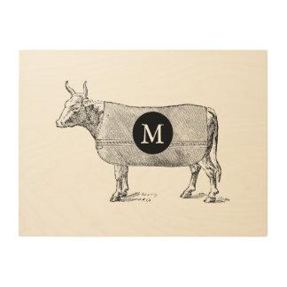 VINTAGE ILLUSTRATION Cow Monogram Wood Wall Art Wood Prints
