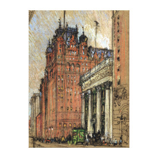 Vintage Illustration Historic Buildings New York Canvas Print