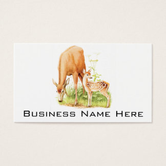 Vintage Illustration, Mother and Baby Deer Business Card