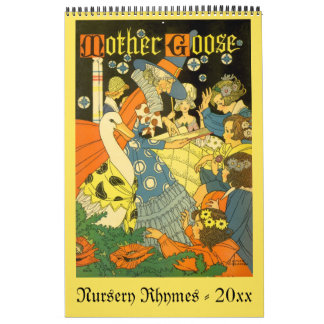 Vintage Illustration Mother Goose Nursery Rhymes Wall Calendars