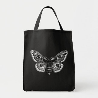 Vintage Illustration of a Moth in Black and White Tote Bag