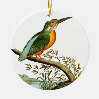 Vintage Illustration of Kingfisher, 1700s Ceramic Ornament