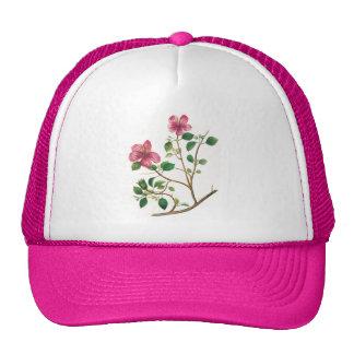 Vintage Illustration Of Pink Flowers Cap