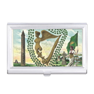 Vintage illustration of shamrock woman harp business card holder