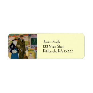 Vintage Illustration of Stylish Couple from 1916 Return Address Label