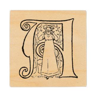 Vintage Illustration of the Letter A Maple Wood Coaster