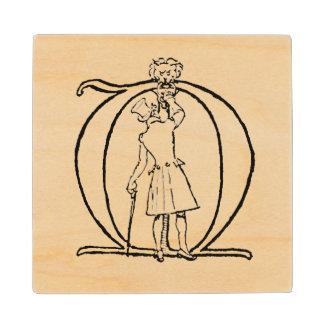 Vintage Illustration of the Letter M Wood Coaster