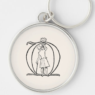 Vintage Illustration of the Letter Monogram T Silver-Colored Round Key Ring
