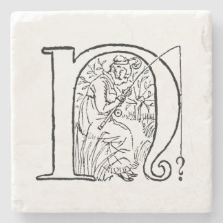Vintage Illustration of the Letter N Stone Coaster