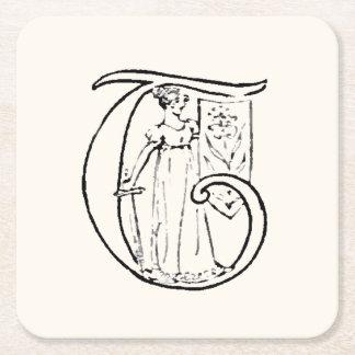 Vintage Illustration of the Letter T Square Paper Coaster