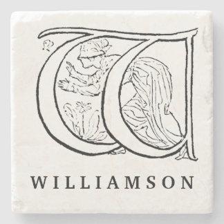 Vintage Illustration of the Letter w Stone Beverage Coaster
