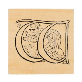 Vintage Illustration of the Letter w Wood Coaster
