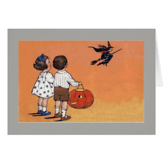 Vintage Illustration of two trick or treaters Card