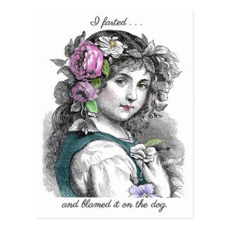 Vintage Illustration Pretty Girl Farts Funny Postcard