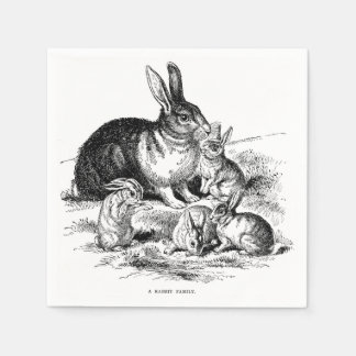 Vintage Illustration Rabbit Family Bunny Napkins Disposable Serviette