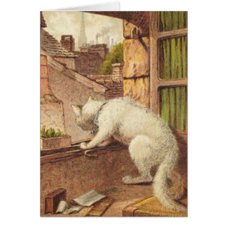Vintage Illustration - The White Cat Adventure Card