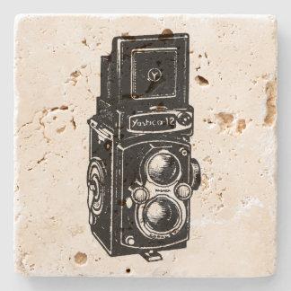 Vintage Illustration TLR Camera Stone Coaster