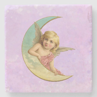 Vintage Image - Angel Sitting on a Crescent Moon Stone Beverage Coaster