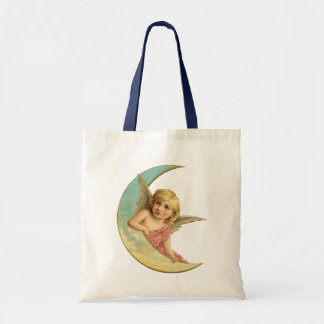 Vintage Image - Angel Sitting on a Crescent Moon Tote Bag