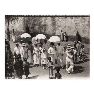 Vintage image,Europeans abroad 1880 Postcard