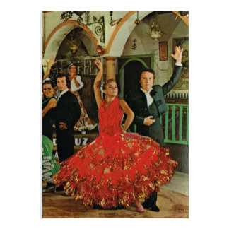 Vintage image, Spain, Flamenco dancers Poster