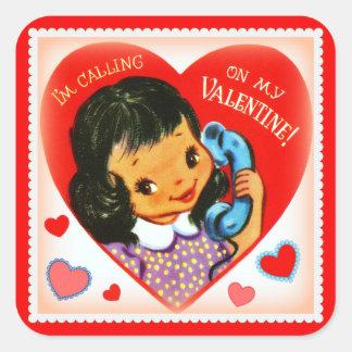Vintage Image Valentine Little Girl Stickers