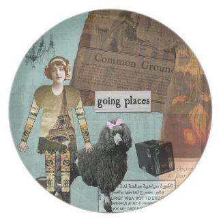 Vintage Images Travel Altered Art Plate