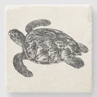 Vintage Imbricated Sea Turtle - Turtles Template Stone Coaster