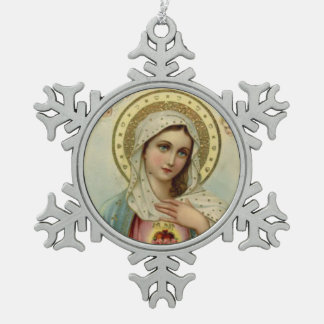 Vintage Immaculate Heart of Mary Snowflake Pewter Christmas Ornament