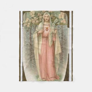 Vintage Immaculate Heart of Mary w/flowers Fleece Blanket